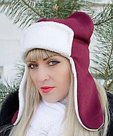 Умка с ушками. Молодежные женские шапки. Вишня.