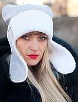 Умка с ушками. Молодежные женские шапки.Серый.