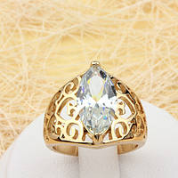 R1-0780 - Ажурный позолоченный перстень с прозрачным фианитом, 16, 17 р.