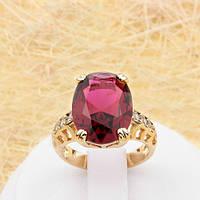 R1-0783 - Эффектное позолоченное кольцо с рубиновым и прозрачными фианитами, 16.5, 17.5, 18 р.