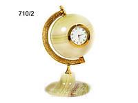 Часы Глобус из оникса 10см
