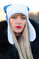 Умка с ушками.Молодежные женские шапки.МеланжЭлектрик.