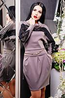 Трикотажное бежевое платье с кружевом Мадлен  42-50 размеры