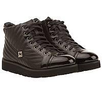 Ботинки женские Deenoor (черные, кожаные, удобные, на шнурках, модные)
