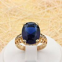 R1-0784 - Эффектное позолоченное кольцо с сапфирово-синим и прозрачными фианитами, 16.5, 17.5, 18 р.