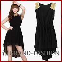 Шифоновое платье ~Шлейф-пайетки~ цвет черный р. S