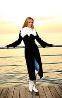 Пальто женское на подкладке с поясом и мехом, фото 1