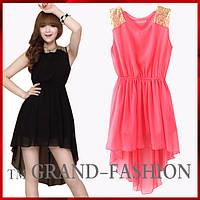 Шифоновое платье ~Шлейф-пайетки~ цвет розовый р. S, М