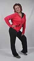 Женский вилюровый спортивный костюм (черный/розовый)