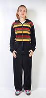 Женский вилюровый спортивный костюм  - полоски (желтый)
