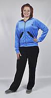 Женский вилюровый спортивный костюм (черный/голубой)