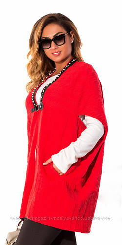 Кофта женская без рукавов декор - жемчуг