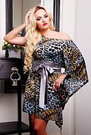 Женское платье с леопардовым принтом  Элен  серое 42-50 размеры