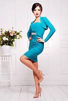 Короткое бирюзовое платье Дарья 42-50 размеры