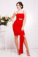 Короткое красное платье Дарья 42-50 размеры