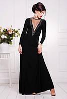 Длинное черное вечернее платье в пол Аркадия 42-50 размеры