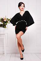 Короткое черное  платье-туника Шик 42-50 размеры