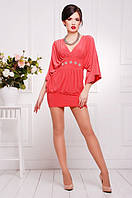 Короткое коралловое платье-туника Шик  42-50 размеры