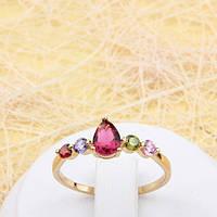 R1-0796 - Милое позолоченное кольцо с цветными фианитами, 19.5 р.