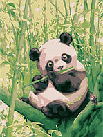 Картина по номерам на холсте без коробки Идейка Забавная панда (KHO2440) 30 х 40 см