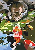 Картина по номерам без коробки Идейка Кот на берегу пруда с карпами (KHO2437) 30 х 40 см