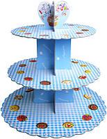 Подставка для кэнди бара, картон 2 мм, цвет голубой, высота 31см, диаметр 31/25/21 см