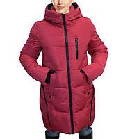 Женская зимняя куртка молодежного красного цвета