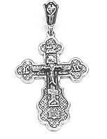 Серебряный православный Крестик с распятием  черненный