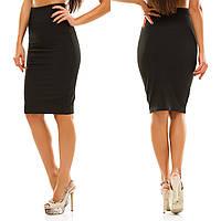 Женская стильная трикотажная юбка 053 / черная