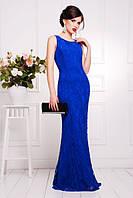 Элегантное вечернее женское платье в пол Мимоза электрик  42-50 размеры