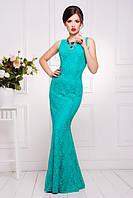 Элегантное вечернее женское платье в пол Мимоза бирюзовое  42-50 размеры