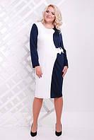 Женское платье батал Арина Lenida  темно-синий+молоко  50-58 размеры