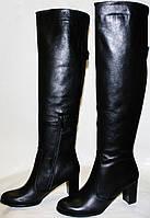 Сапоги осенние женские Cluchini 3345 черные, натуральная кожа, каблук, замочек.