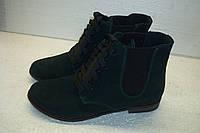 Ботинки женские осенние на шнурках на плоской подошве, женская кожаная осенняя обувь