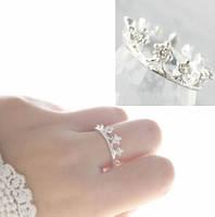 Кольцо Корона  / бижутерия/ размер 18/ цвет серебро