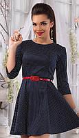 Платье женское горох с поясом, фото 1