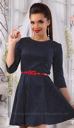 Платье женское горох с поясом