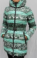 Куртка пуховик женская молодежная  Bright с принтом - олени