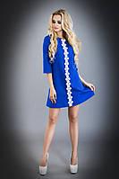 Красивое Короткое Платье на Осень с Карманами Электрик S-XL