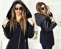 """Стильное кашемировое пальто  """" Стёганая экокожа капюшон """" Dress Code"""
