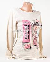 Модный свитшот женский принт London бежевый p.44-46 N1903