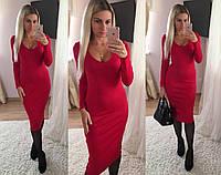 Трикотажное красное платье миди