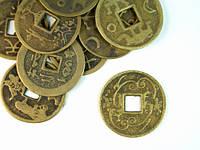 Монета счастья медная узоры, иероглифы