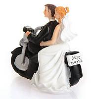 """Фигурка на свадебный торт """"Жених и невеста на мотоцикле """", оригинальные свадебные фигурки"""
