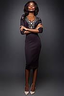 Утонченное Платье-Футляр с Перфорацией на Груди Сливовое S-XL