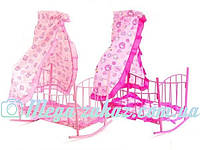 Детская кроватка-качалка на колесиках для кукол с балдахином: подушка+ матрасик, 47х33х67см