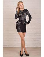 Черное платье в звездочки с баской
