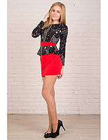 Черное-красное платье в звездочки с баской