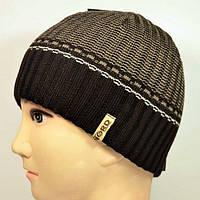 Теплая вязаная мужская шапка