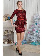 Красное гипюровое платье  с баской